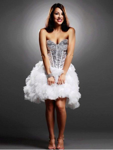 Свадебное платье короткое с паетками