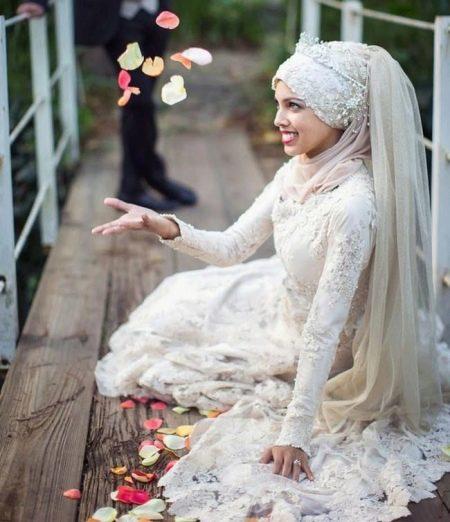 Кружевное мусульманское свадебное платье