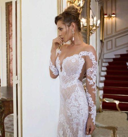 Свадебное ажурное откровенное платье