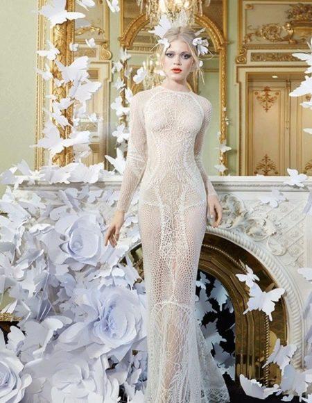 Откровенное прозрачное свадебное платье