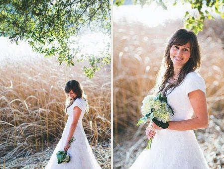 Закрытая спина в скромном свадебном платье