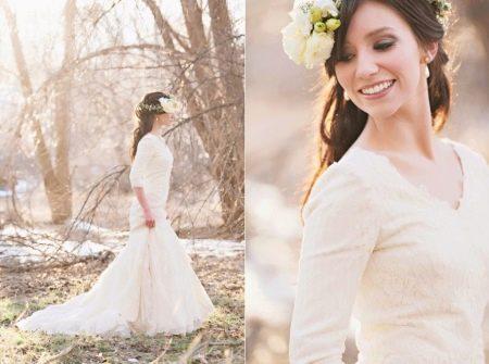 Скромное свадебное платье прямое