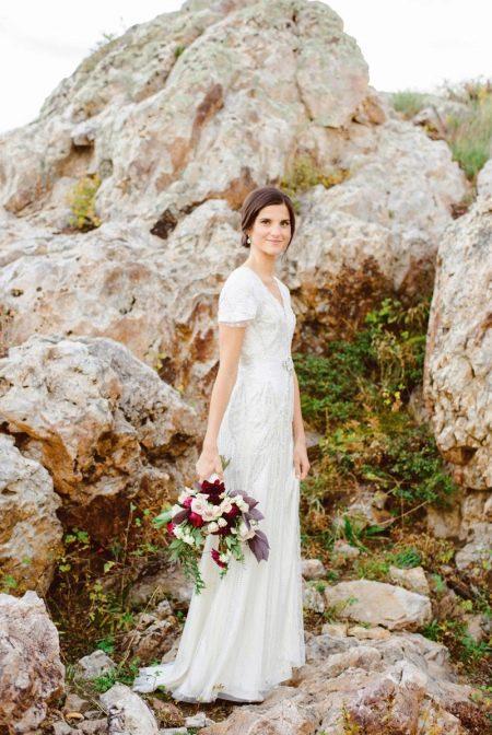Закрытое скромное свадебное платье