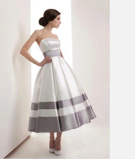 Свадебное платье миди черно-белое