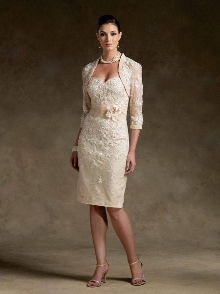 Свадебное платье миди с болеро