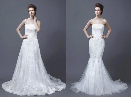 Свадебное платье-трансформер кружевное с накладным верхом