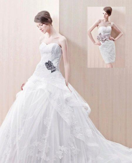 Свадебное платье пышное с накладной юбкой трансформер