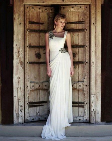 Свадебное платье ассимитрочное в греческом стиле