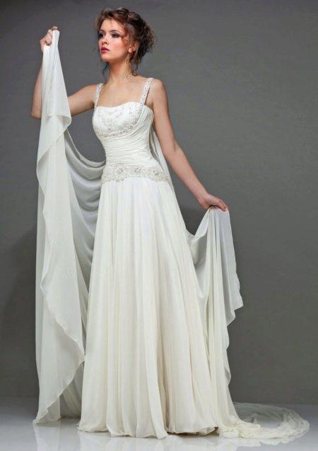 Свадебное платье в греческом стиле с тонкими бретелями