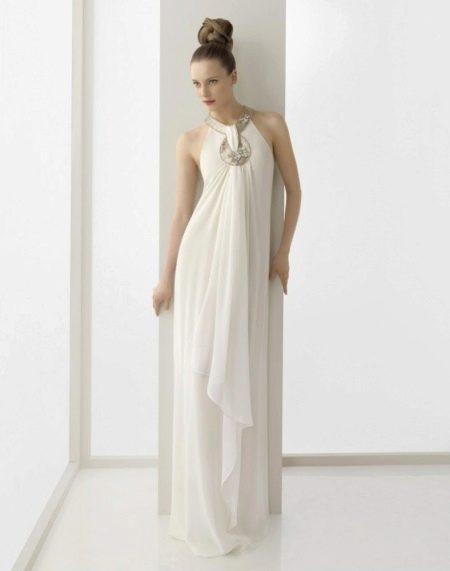 Греческое свадебное платье с закрытой шеей