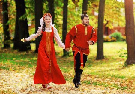 Свадебный сарафан в русском стиле