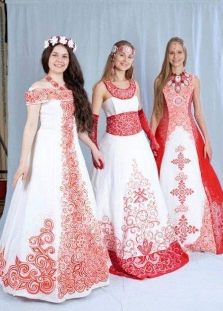 А-образные свадебные платья с русском стиле