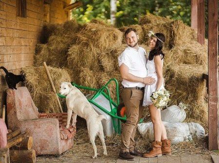 Короткое рустилькальное свадебное платье