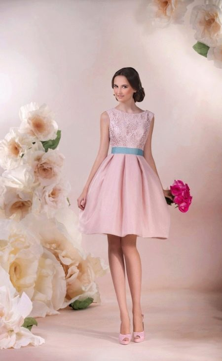 Свадебное платье от Стрекоза розовое короткое