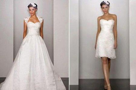 Свадебное платье со съемными бретелями