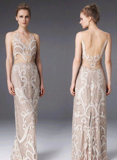 Вечернее платье из кружева бежевое