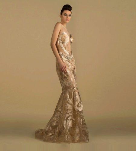 Вечернее платье бежевое от дизайнера Saiid Kobeisy