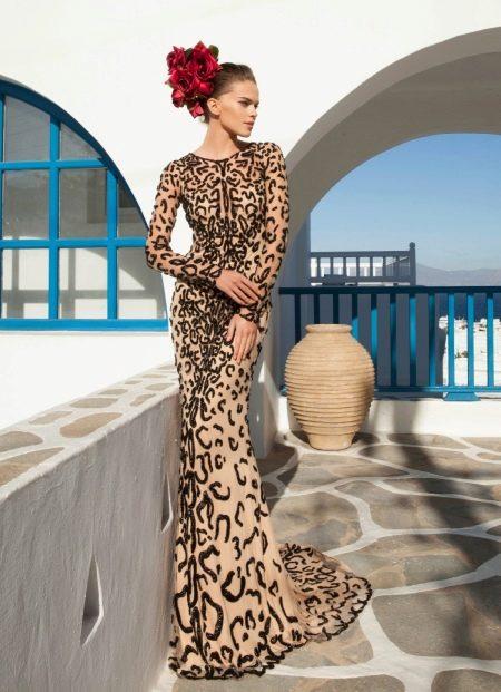 Вечернее платье с эффектом обнаженного тела тигровое