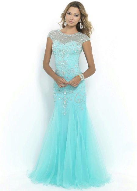 Платье вечернее бирюзовое