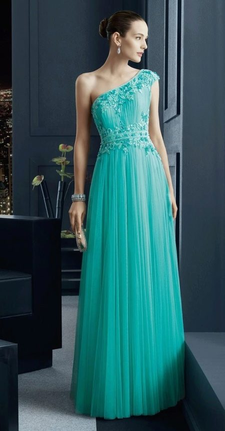 Вечернее бирюзовое платье от Rosa Clarа