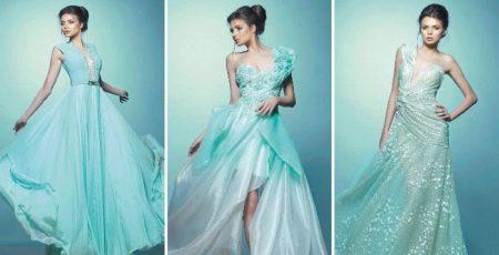 Вечернее платье бирюзовое от Saiid Kobeisy