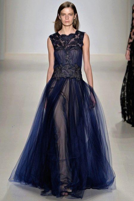 Вечернее платье от Tadashi Shoji синеее