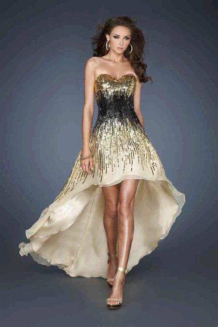 Вечернее платье от La Femme короткое спереди, длинное сзади
