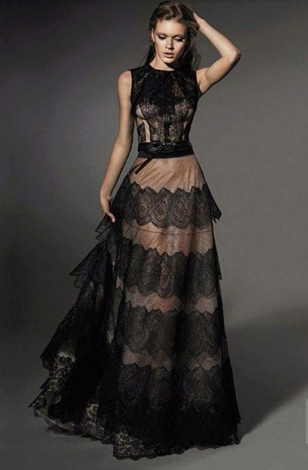Вечернее платье от Yolan cris с кружевом