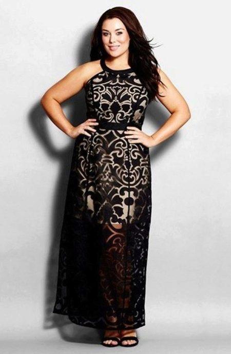 Черное кружевное платье футляр вечернее для полных