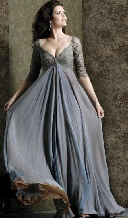 Серое вечернее платье ампир для полных
