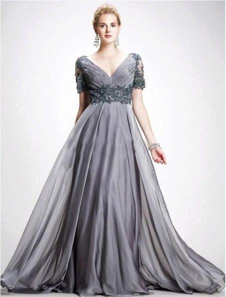 Вечернее платье для полных А-силуэта серое