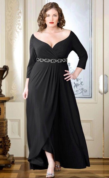 Вечернее платье с запахом для полных черное