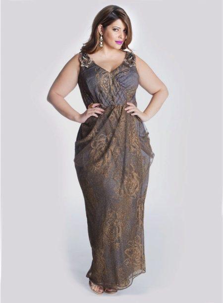 Вечернее платье с запахом для полных с рисенком