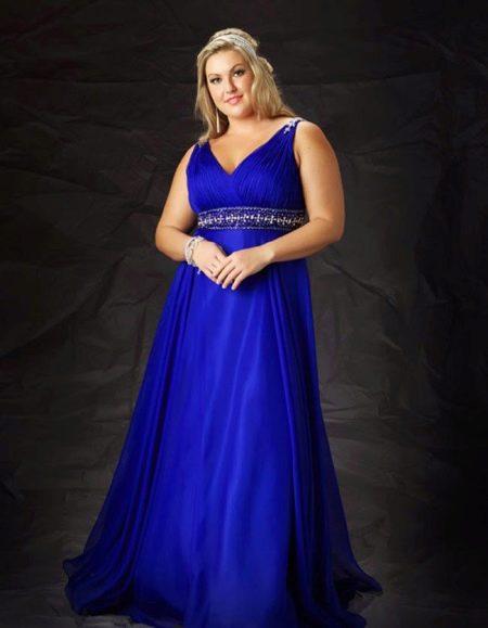Синее вечернее платье для полных