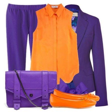 Фиолетовый с оранжевом - платье и пиджак