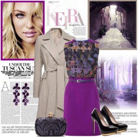 Фиолетовое платье с коричневым/бежевым