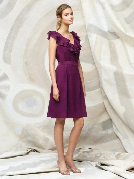 Фиолетово-красное платье