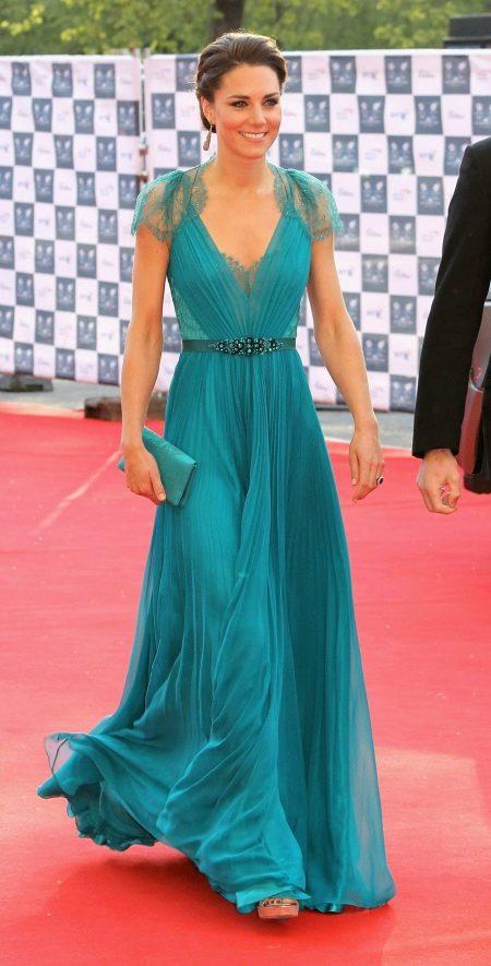 Кейт Миддлтон в изумрудном платье