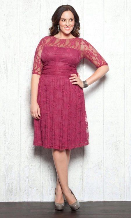 Платье вечернее летнее кружевное для полных бордовое