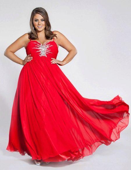 Вечернее платье А-силуэта для полных