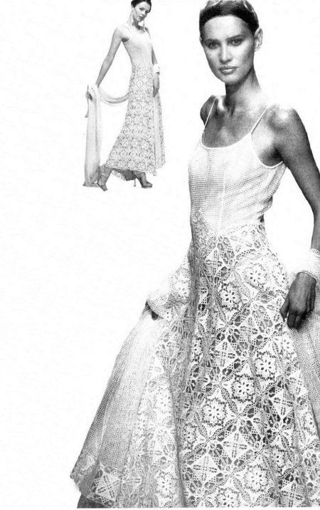 Вязаное свадебное платье крючком из журнала