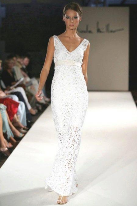 Вязанное свадебное платье крючком дизайнерское