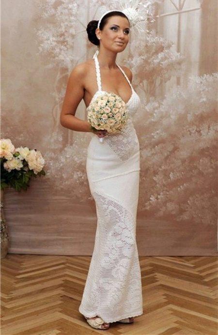 Свадебное платье с филейными вставками