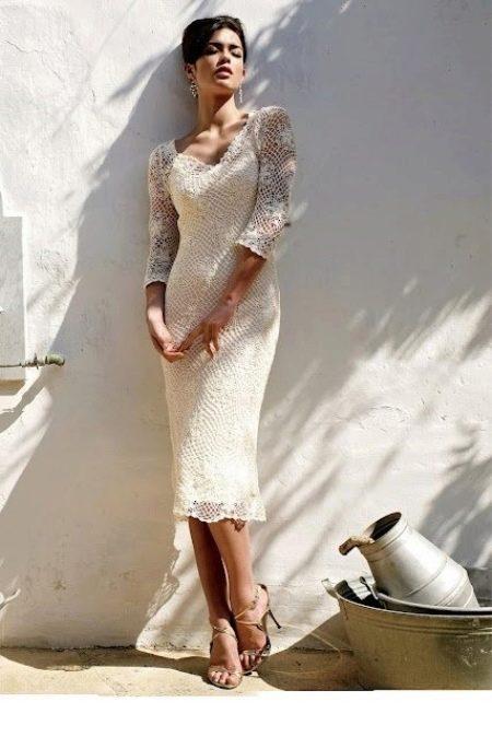 Платье свадебное вязанное крючком из мотивов