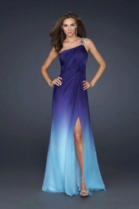 Градиент в вечернем платье - фиолетовый и голубой