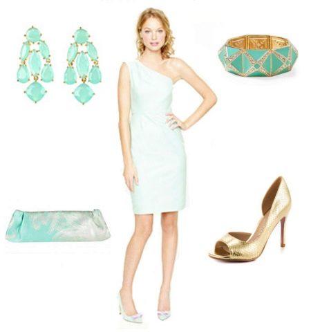 Образ - платье мятного цвета