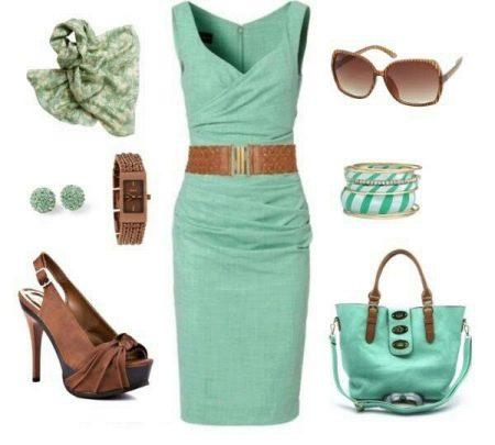 Мятное платье - образ бизнес стиля