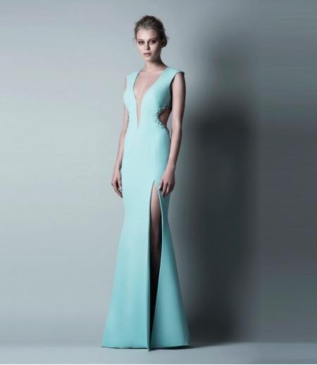 Вечернее платье бирюзовое от Saiid Kobeisy  с разрезом
