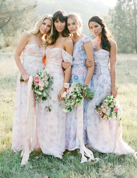 Нежные платья для подружек невесты в пол