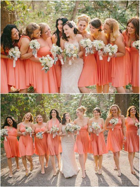 Коралловые платья для подружек невесты одинакового цвета